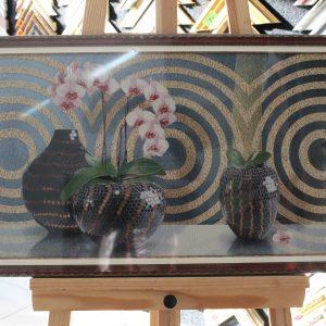 Гобелен «Орхидеи» размер 40*80 в багетной рамке
