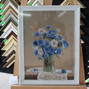 Гобелен «Васильки и ромашки» размер 35*50 в багетной рамке