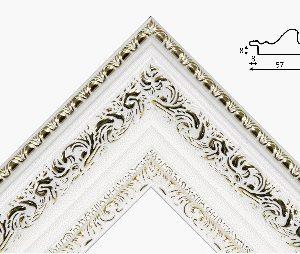 Рамка 40*50 из пластикового багета белого цвета с золотым рисунком
