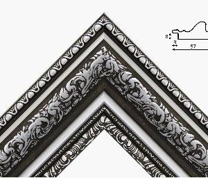 Рамка 40*50 из пластикового багета черная с серебром
